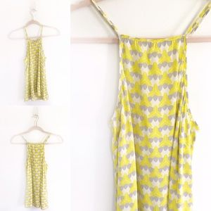 Banana Republic Yellow Geometric Milly Silk Tank